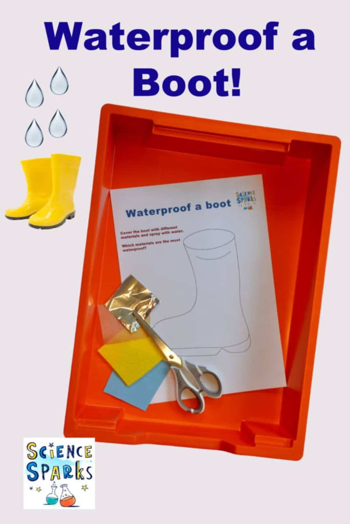 """The text reads """"Waterproof a Boot!"""" The image is of a red plastic tray. Inside the tray is a sheet of paper woth a boot drawn on it. Squares of different materials and a pair of scissors are next to it"""
