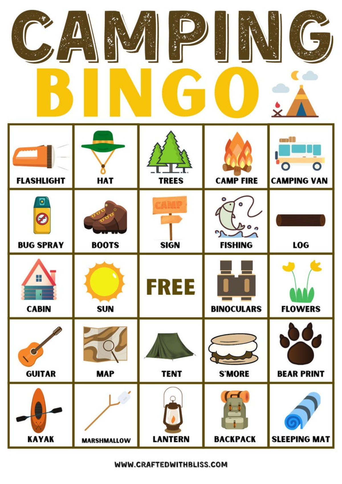 a printout for camping bingo, with the squares filled with images and words to check off