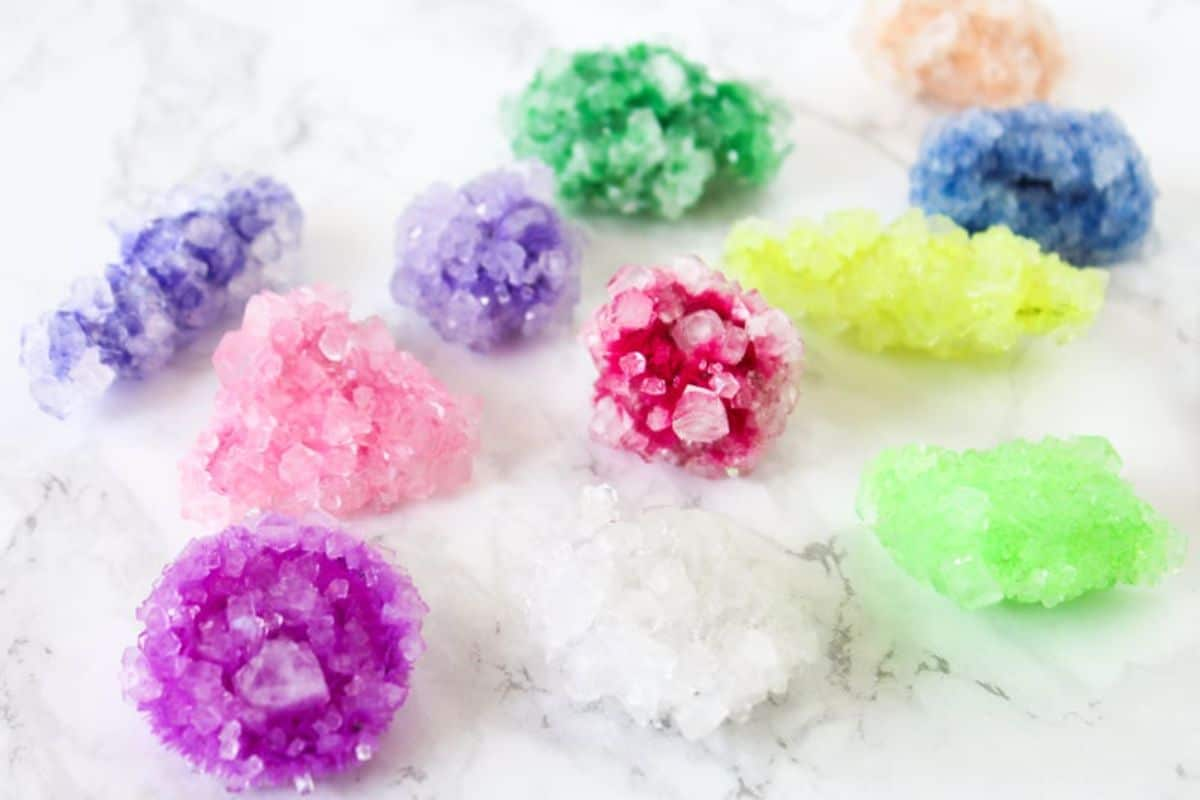 multi-colored crystals on a marble background