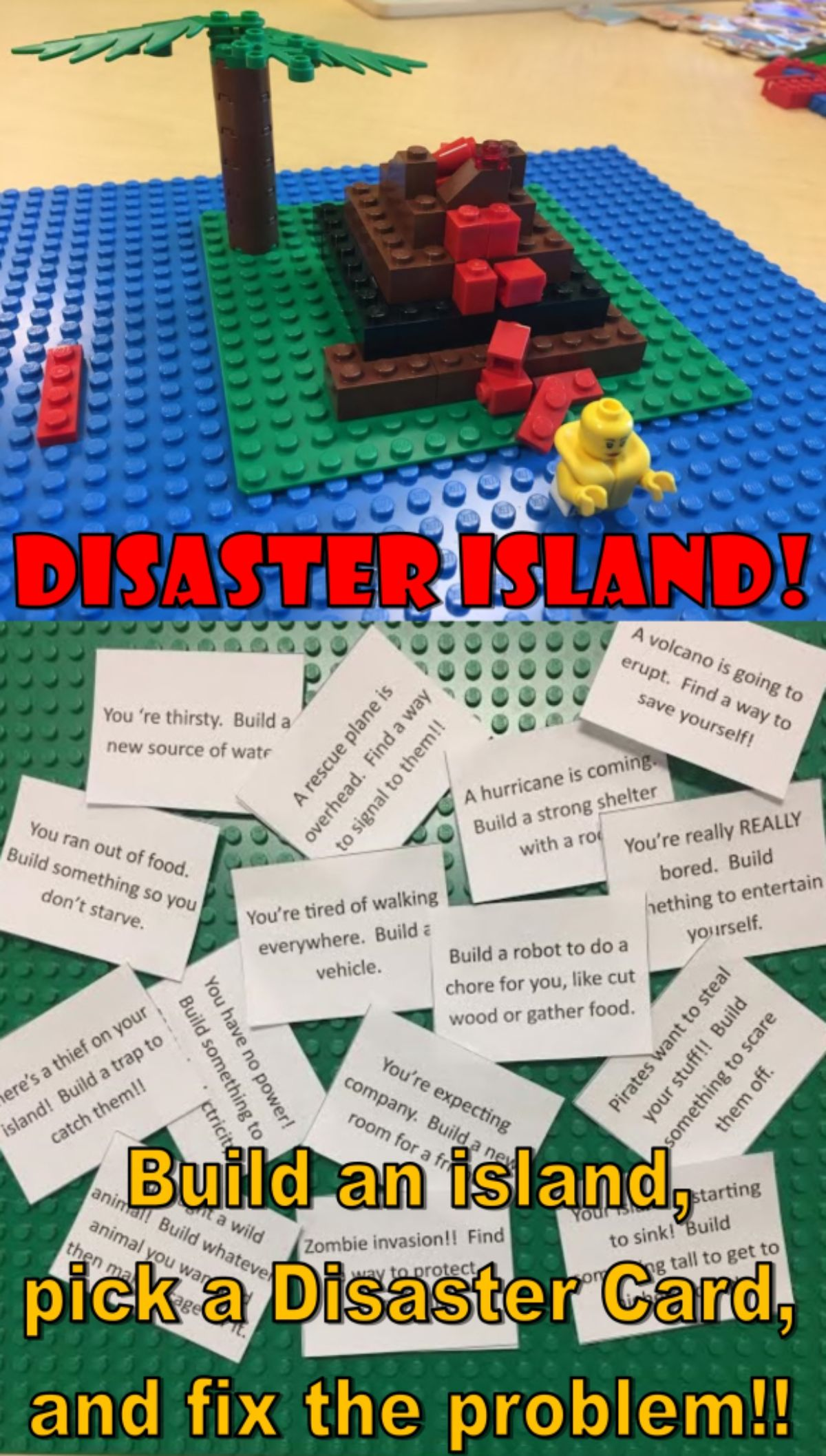"""The text reads """"Disaster Island! Build an island, pick a disaster card, and fix the problem"""" The image is of a volcano island on a blue and green base with a scattering of paper slips below"""
