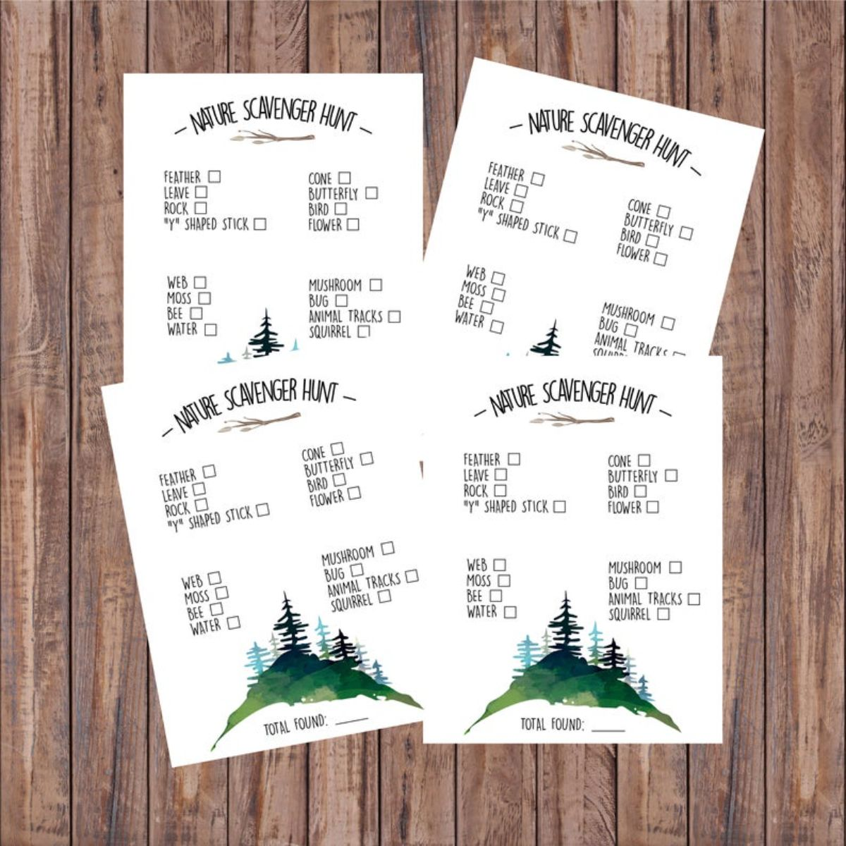 4 scavenger hunt sheets are on a wooden background