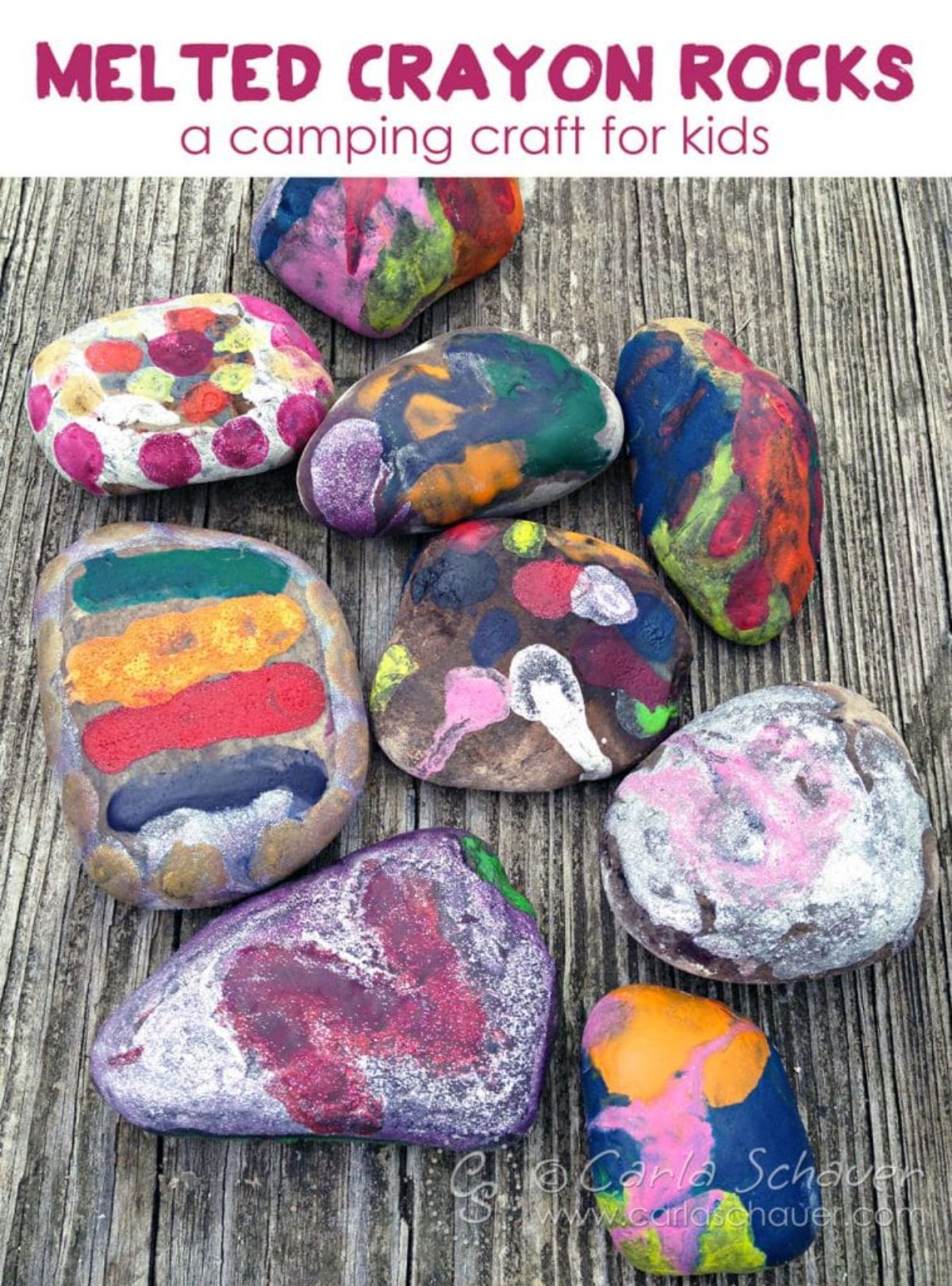 """The text reads """"Melted Crayon Rocks a camping craft for kids"""" The image is of 9 rocks painted with melted crayon"""