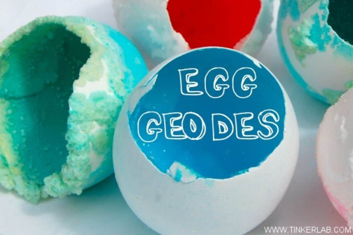 """the text reads """"egg geodes"""" the iage is off broken egg shapes in differnet colors"""