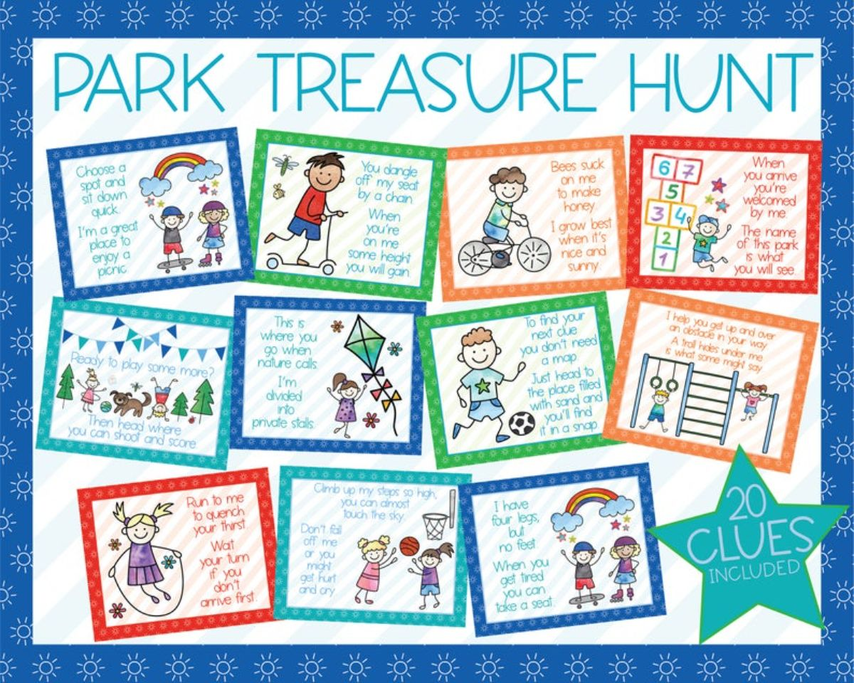 an image of a park treasure hunt with 11 colored squares. Each square has a cartoon image and some writing on it