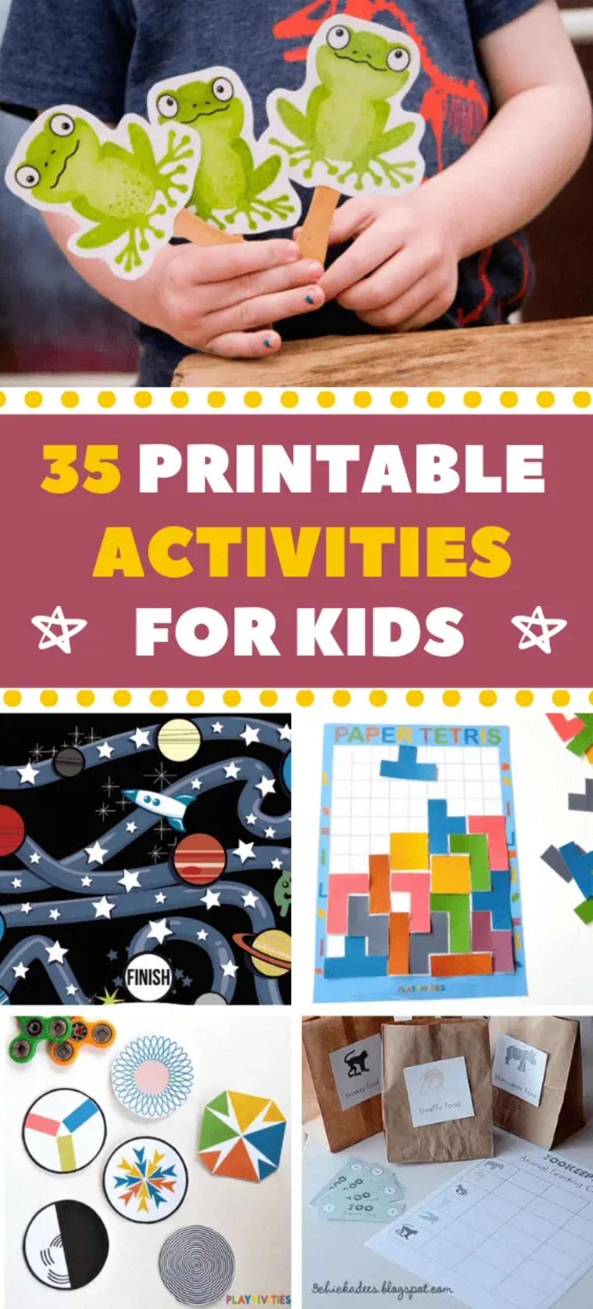 """the texxt reads """"35 printable activities for kids"""". The images are of various activity printables"""