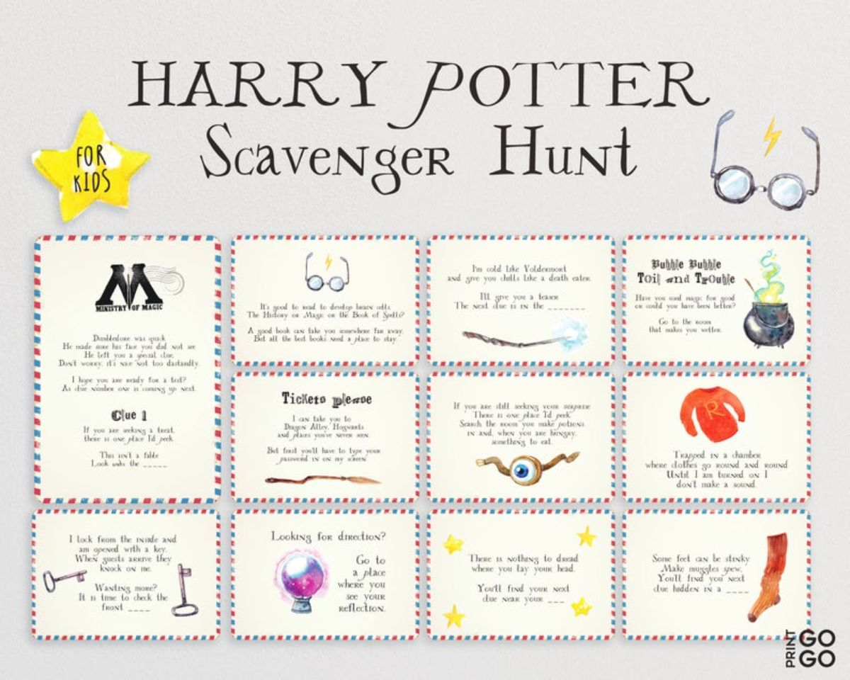 """The text at the top reads """"Harry Potter scavenger hunt"""" 11 squares are on the sheet with images and writing in them"""