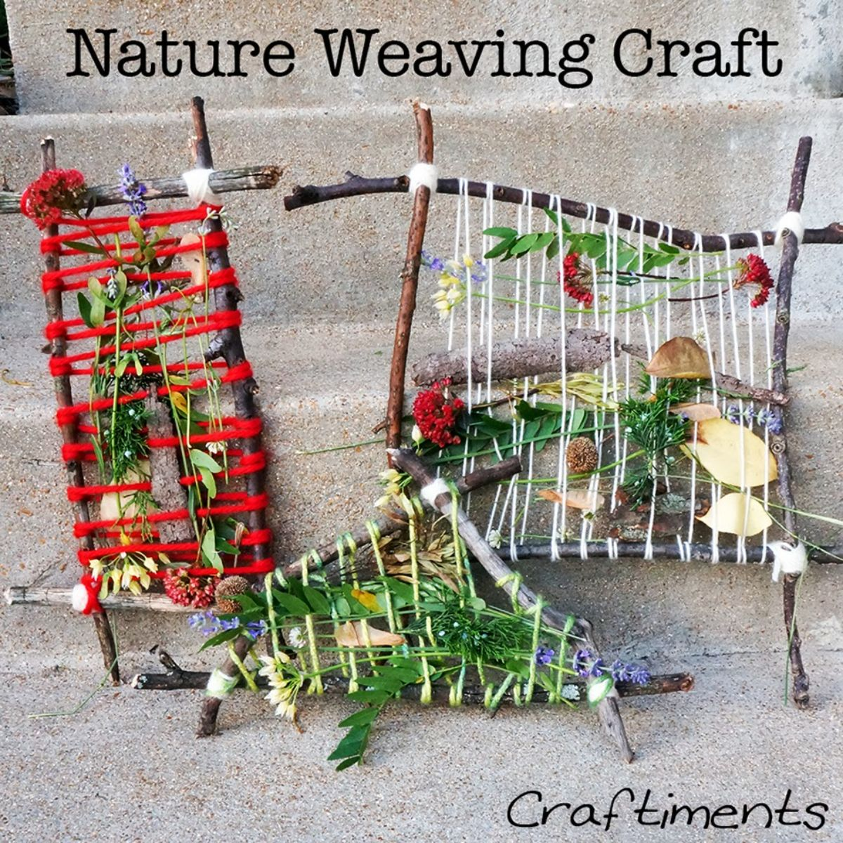 """The text reads """"Nature Weaving Craft"""" the image is of 3 hazel frames with string and leaves weaved into them"""