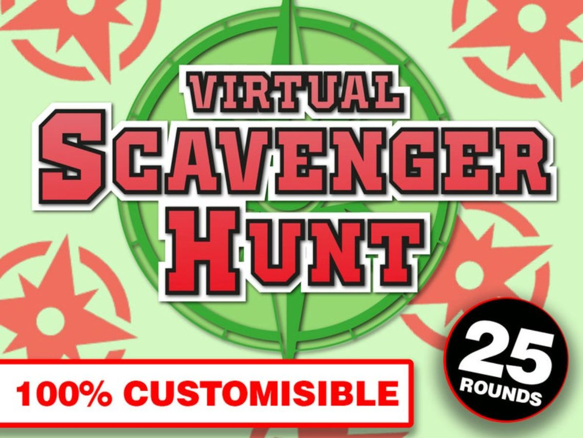 """A green background with red star patterns on it. The large text reads """"Virtual Scavenger hunt 100% customisable. 25 rounds"""""""