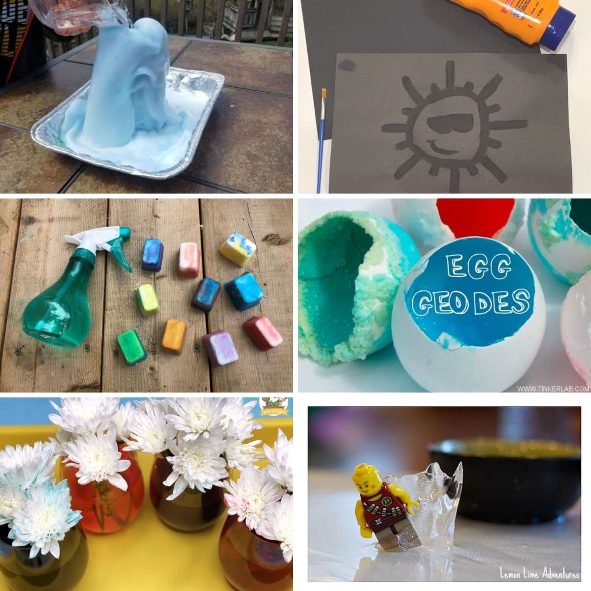 Collage featuring summer science projects from content.