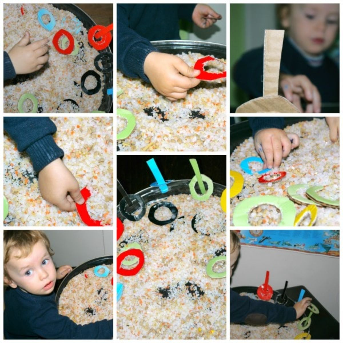 a montage of photos of a small boy digging into a tray of cereal and cardboard colored rings