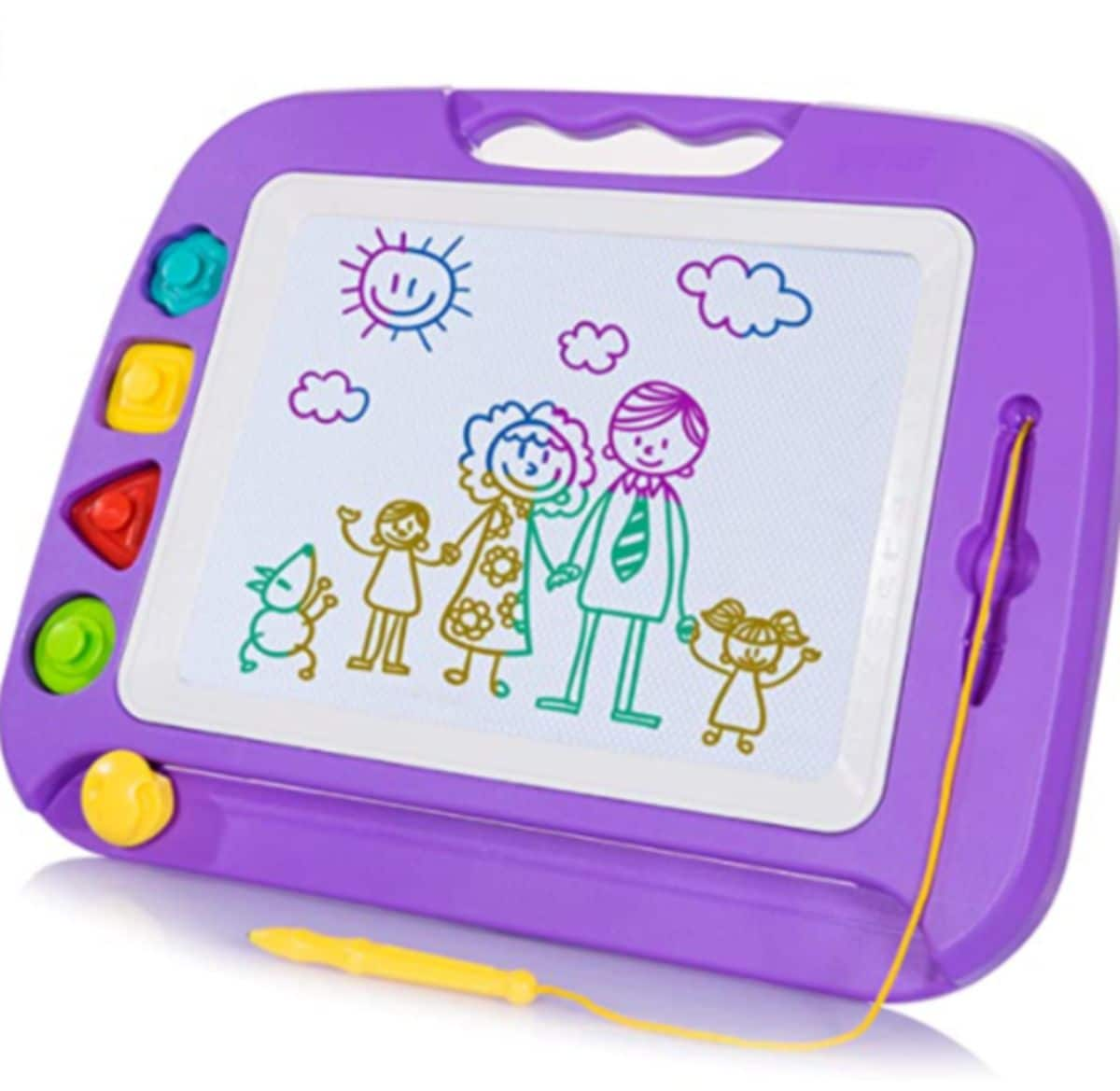 a purple magnetic doodle board. a drawing of a mom, dad, 2 kids and a dog on it