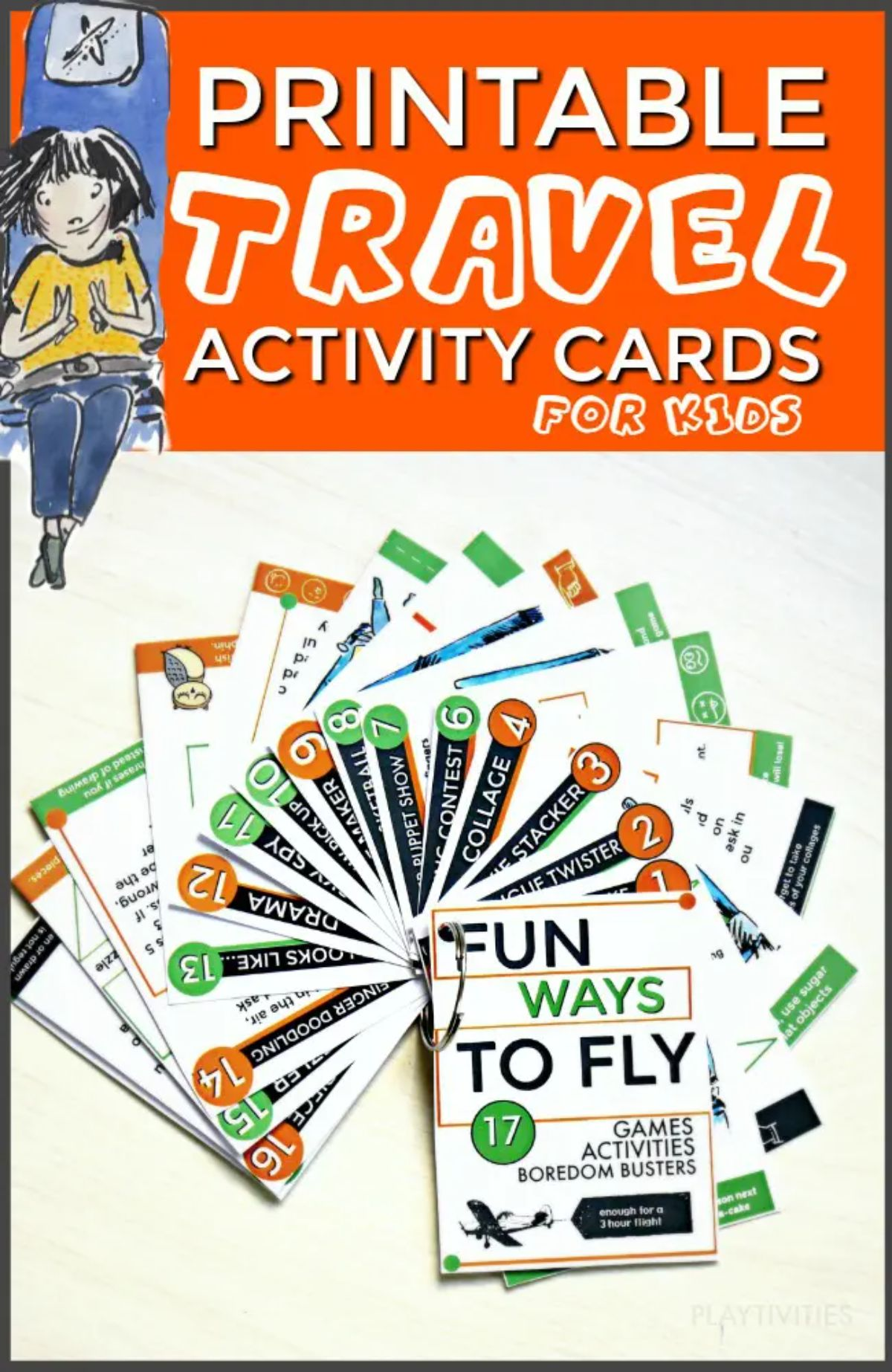 """The text reads """"Printable Travel Activity Cards for Kids"""" The image is of travel cardss pinned together with a ring"""