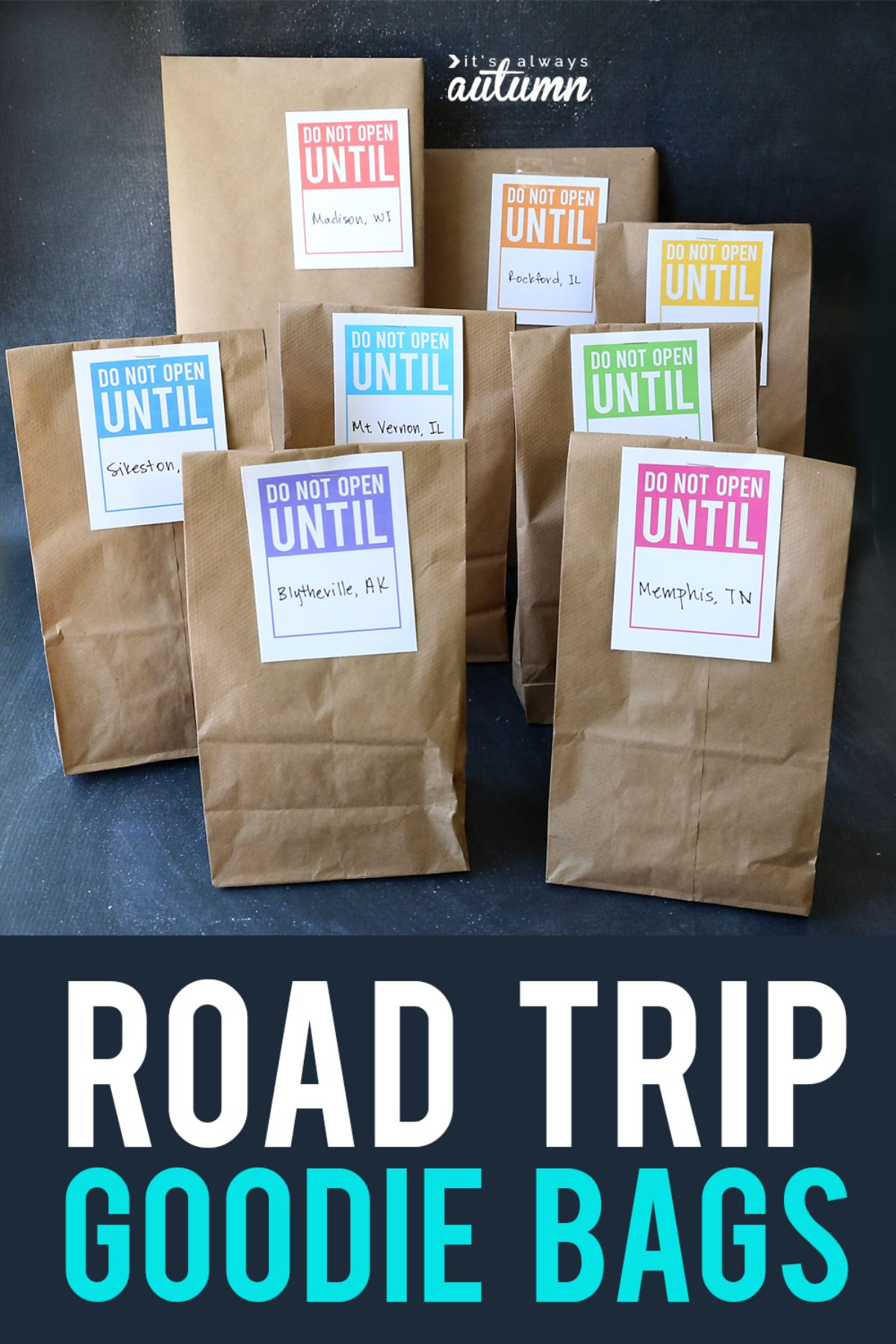 """the text reads """"Road Trip Goodie Bags"""" the image is of 8 brown paper bags labelled """"do not open until..."""""""
