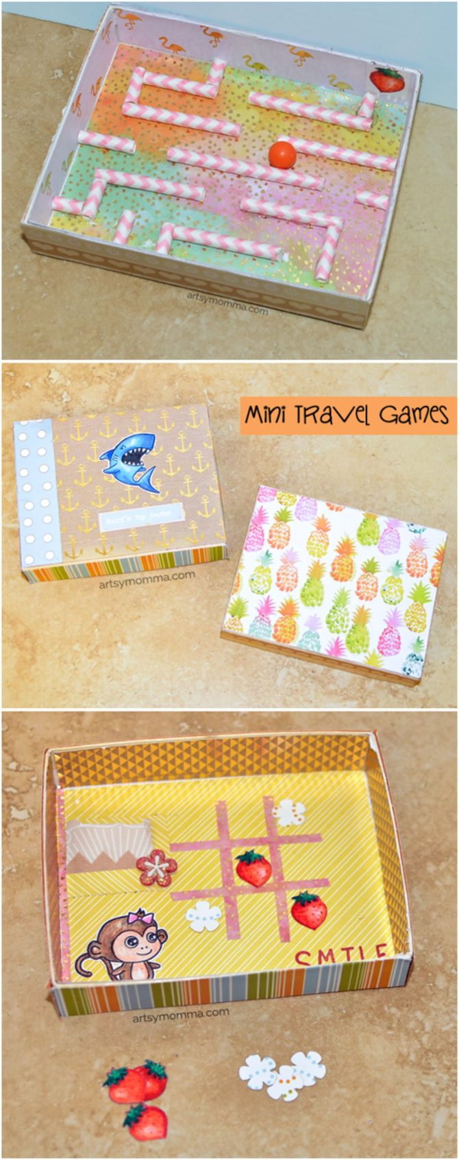 3 photos of boxed games including a marble maze, and tic tac toe