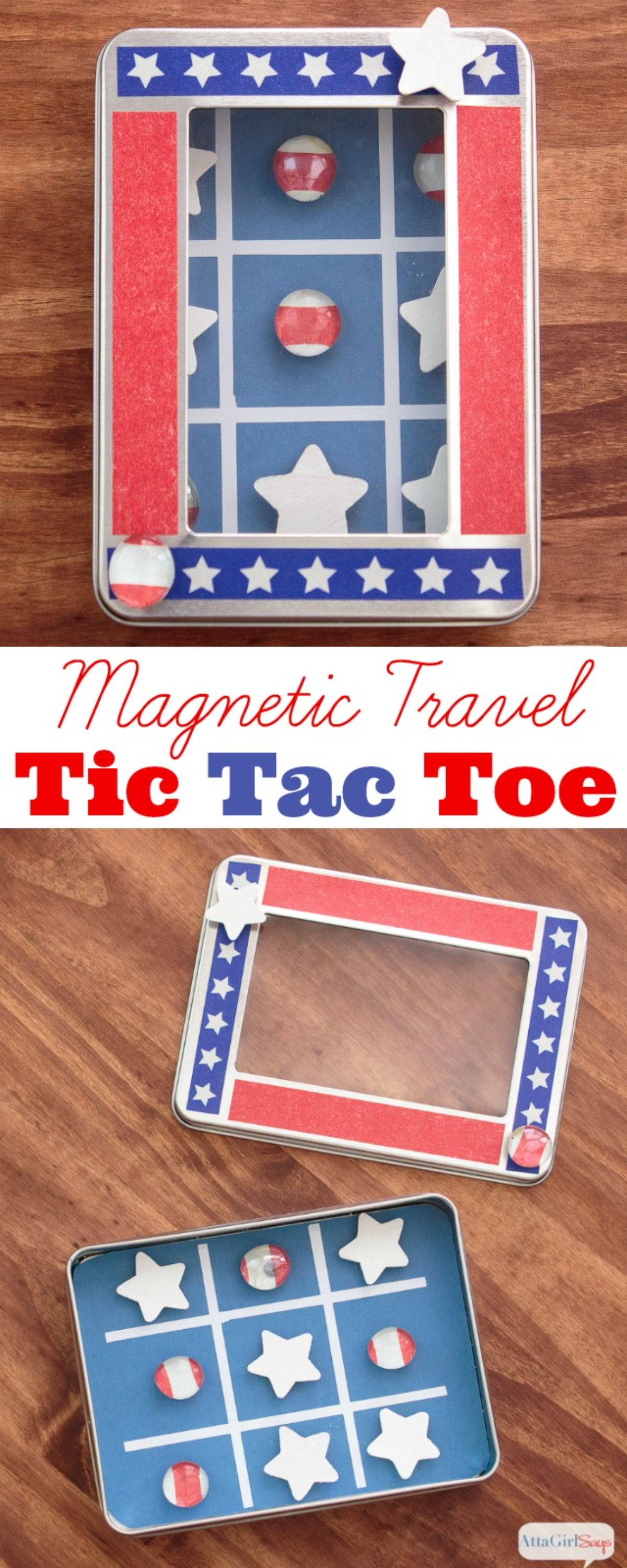 2 images of a tin turned into a magnetic tic tac toe game painted like the american flag