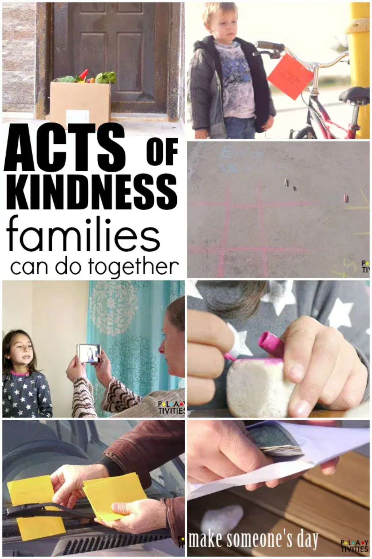 """The Text reads """"Acts of Kindness families can do together"""" the images are of different kind activities"""