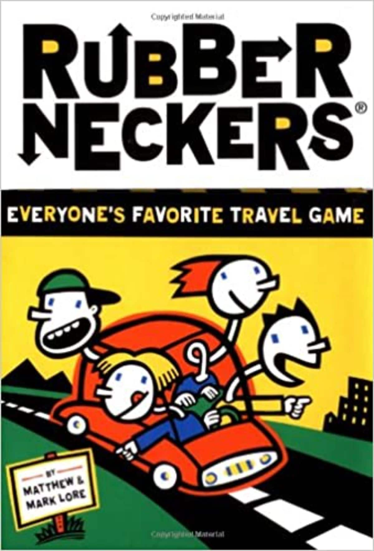 """the front cover of """"Rubberneckers: Everyone's favorite travel game"""" 4 cartoon figures have their heads popping out of a red car driving along a street"""