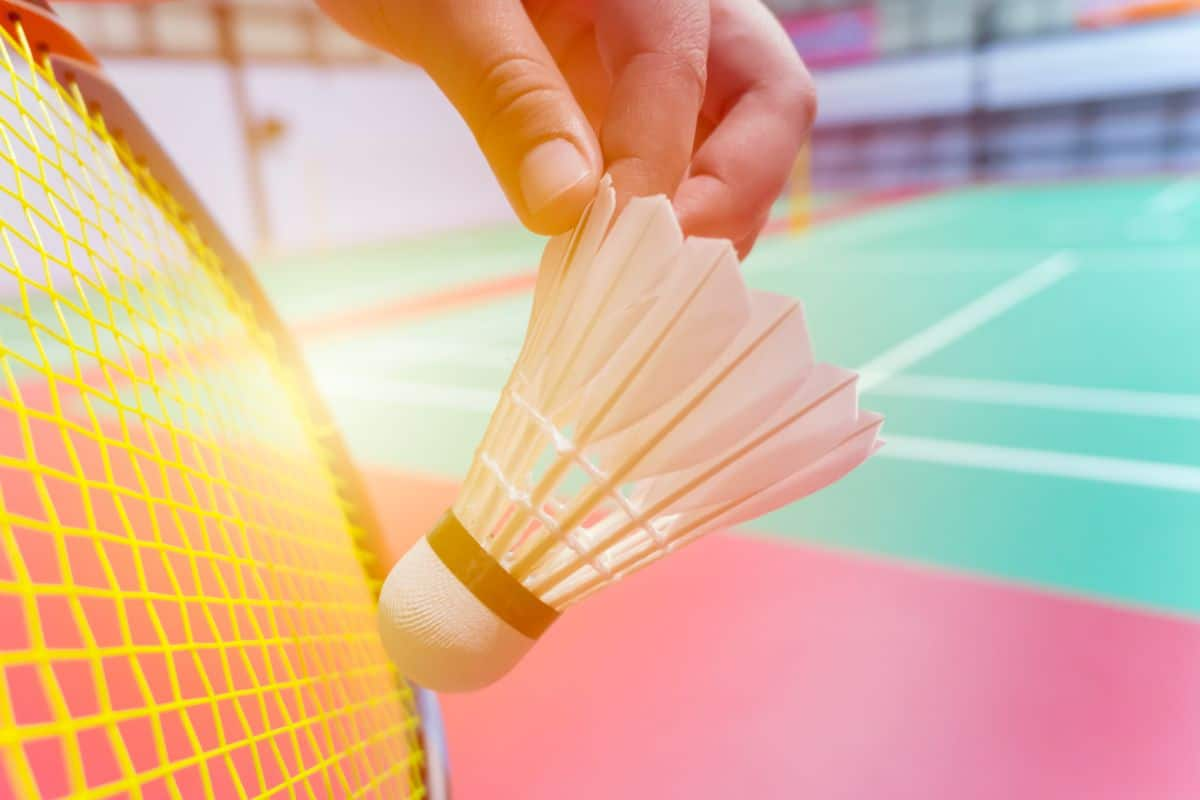 a close up of a hand holding a shuttlecock in front of a badminton racket
