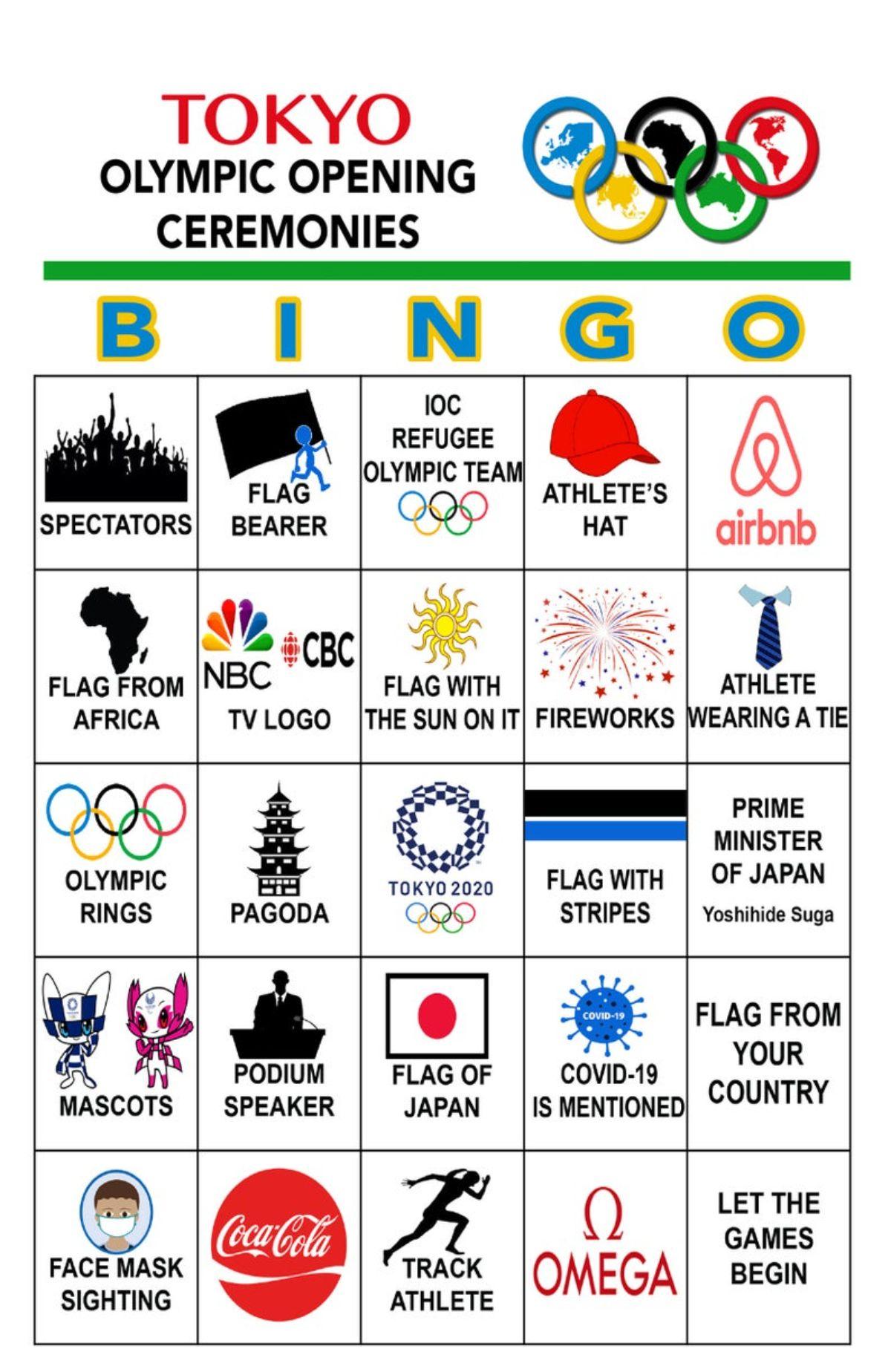 a screenshot of a bingo card around the TOkyo opening ceremony
