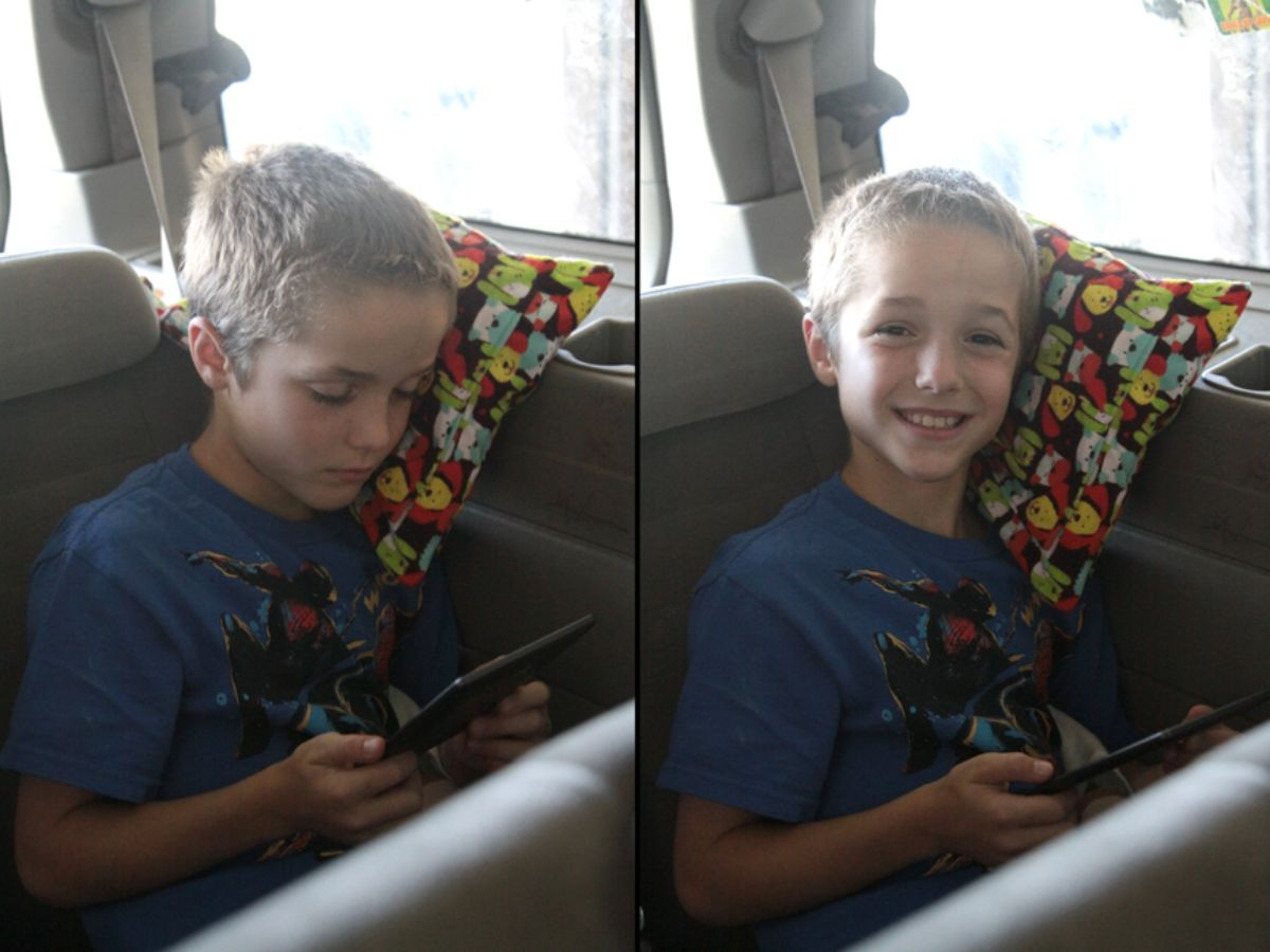 2 images of the same boy in the back of a car leaning on a fabric pillow and smiling
