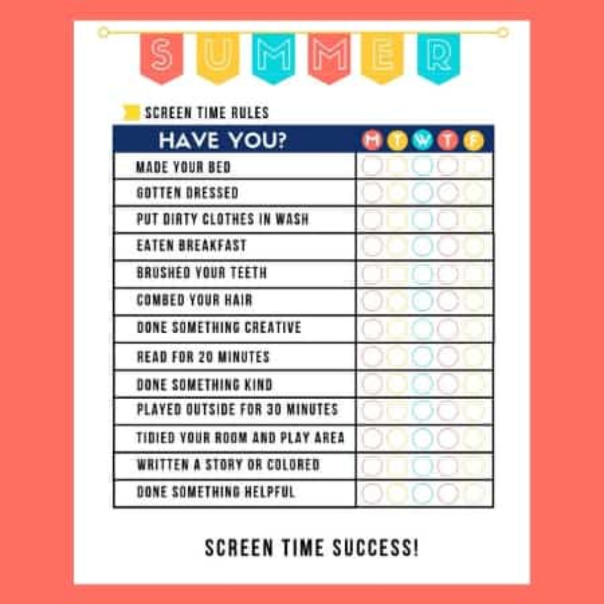 a printable sheet of screen time rules