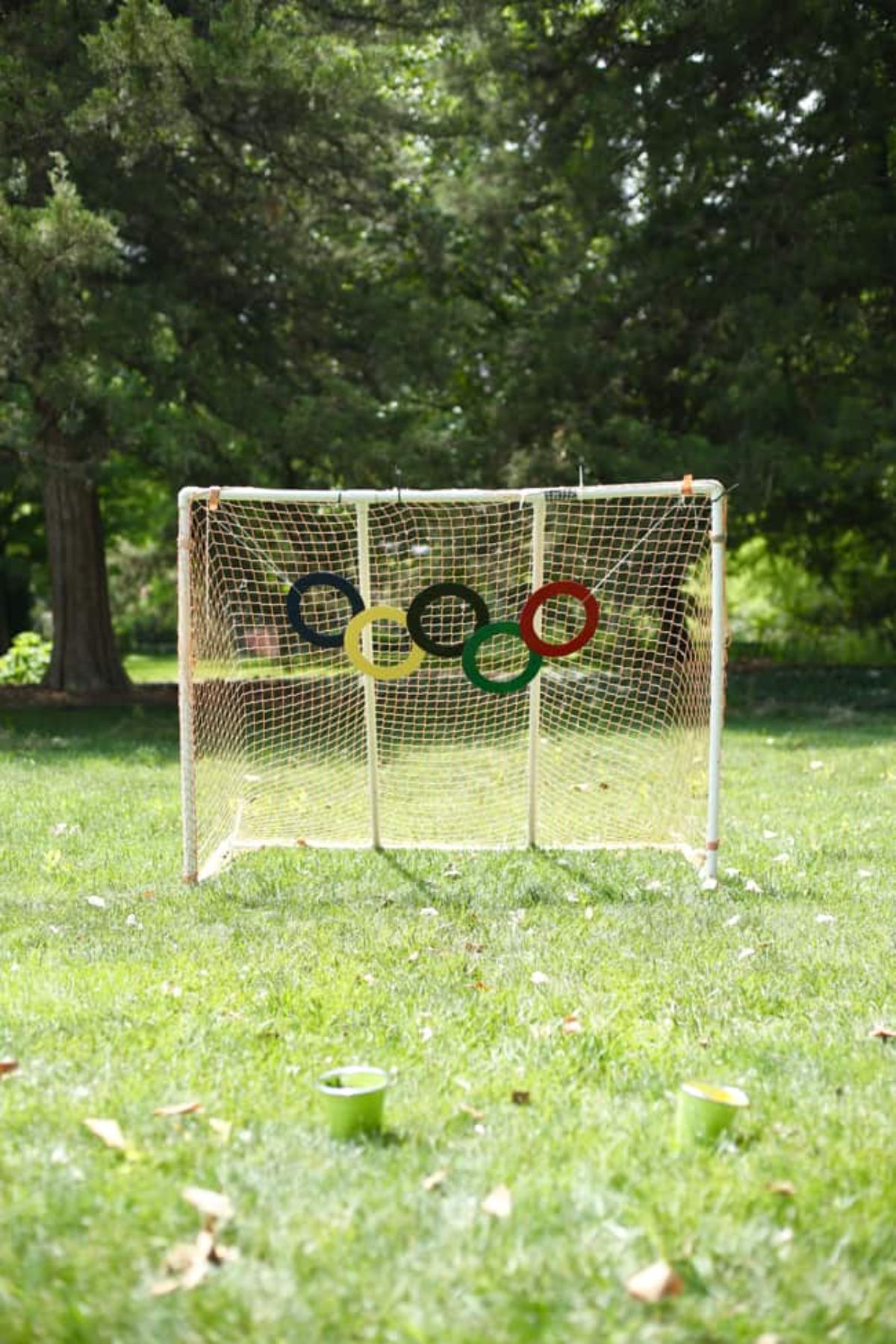 a football goal is in front of some trees. Olympic rings are hanging from it