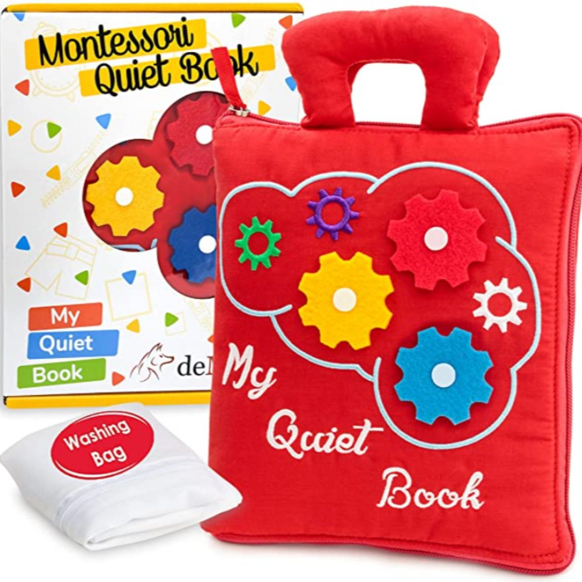 a montessori quiet book with a washing bag and material cogs on the front