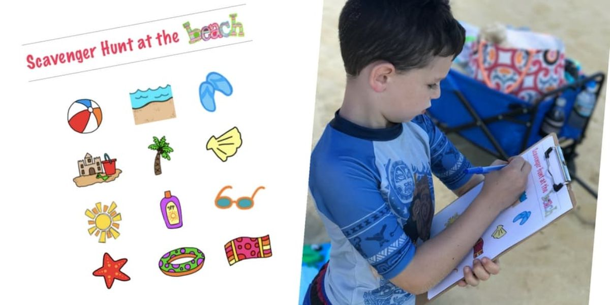 two images. One of a scavenger hunt page, the other of a boy in a blue top holding the scavenger hunt on a clipboard